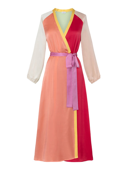 Jagger Silk Wrap Dress | Colorblock