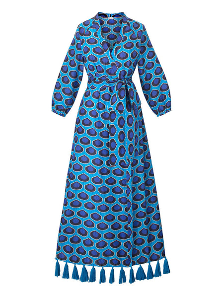 Lena Dress | Blue Ikat
