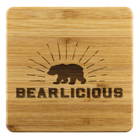 Bearlicious Bamboo Coaster Set - FREE Shipping - Bearified Gear