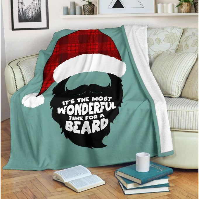 Most Wonderful Time For A Beard Throw Blanket - Bearified Gear