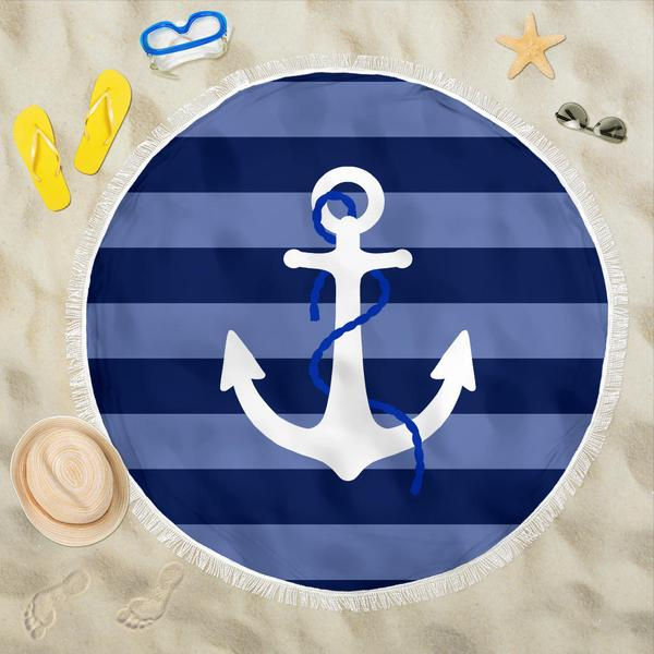 Round Anchor Beach Towel - Bearified Gear