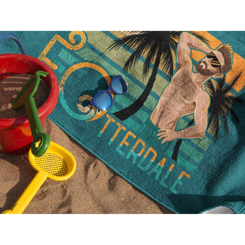 Blue beach towel image image of a boy otter and words Ft Otterdale