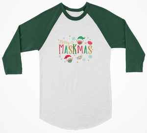 Merry Maskmas 3/4 Christmas Shirt - Bearified Gear