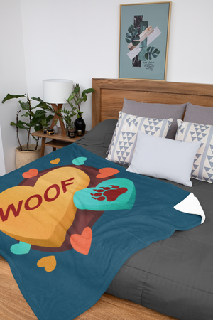 Woof Valentine Throw Blanket - Bearified Gear