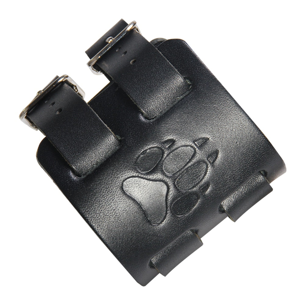 Bear Paw Double Wide Leather Adjustable Cuff - Bearified Gear