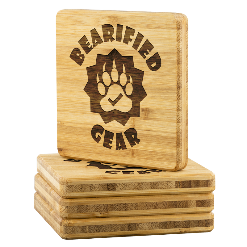 Bearified Gear Bamboo Coaster Set - Bearified Gear