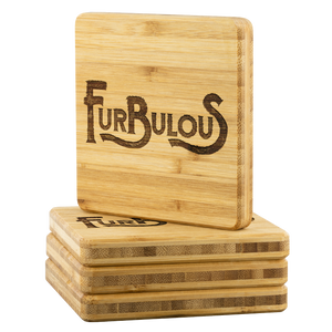 Furbulous Bamboo Coaster Set - FREE Shipping - Bearified Gear