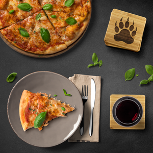Bear Paw Bamboo Coaster Set - Bearified Gear
