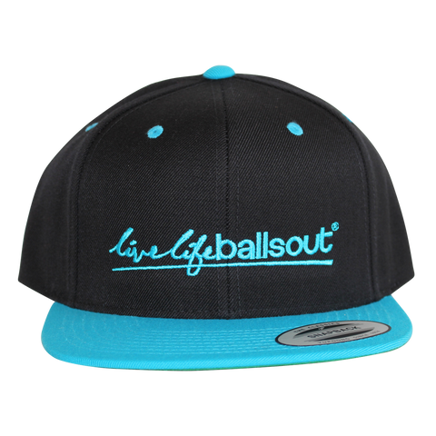 BLACK/BLUE- Classic Snapback Hat with new Twist-Splash