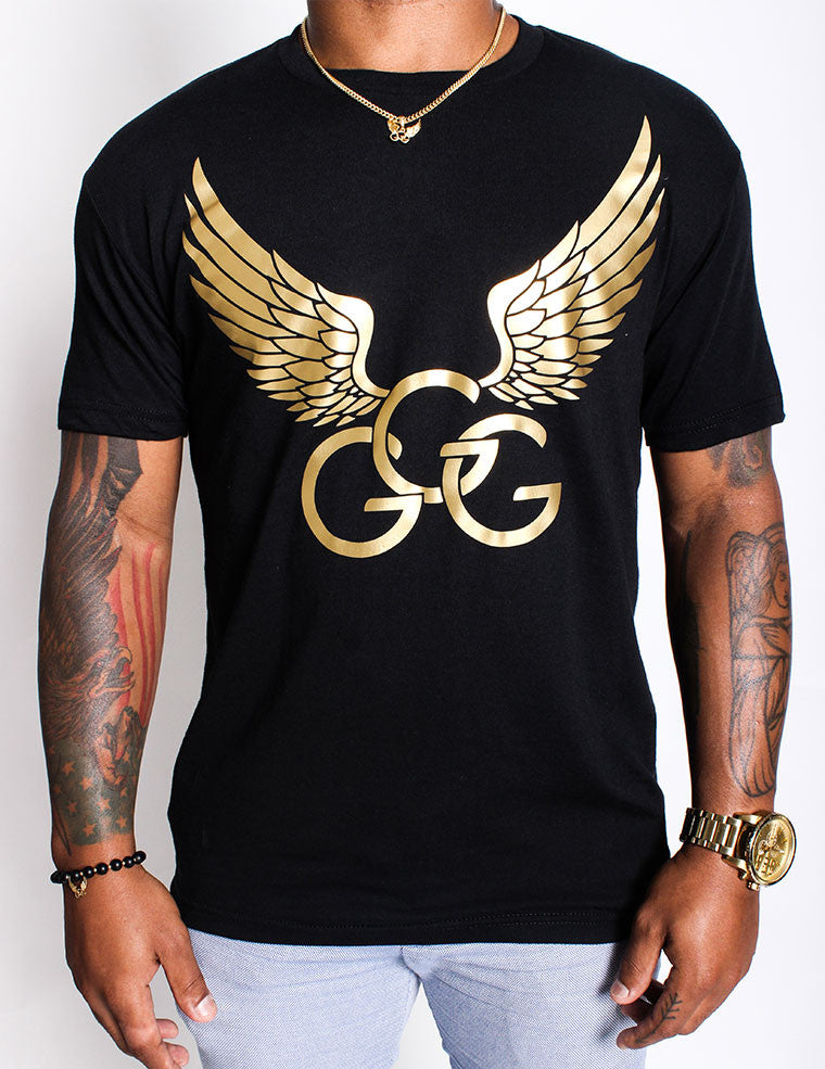 Black & Gold  Vinyl Logo Tee