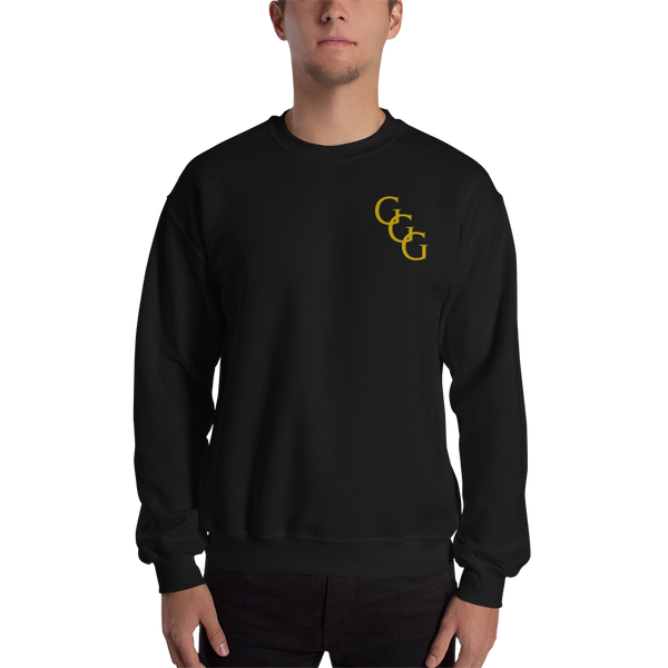 Black and Gold sweatshirt with embroidered slanted GGG Logo
