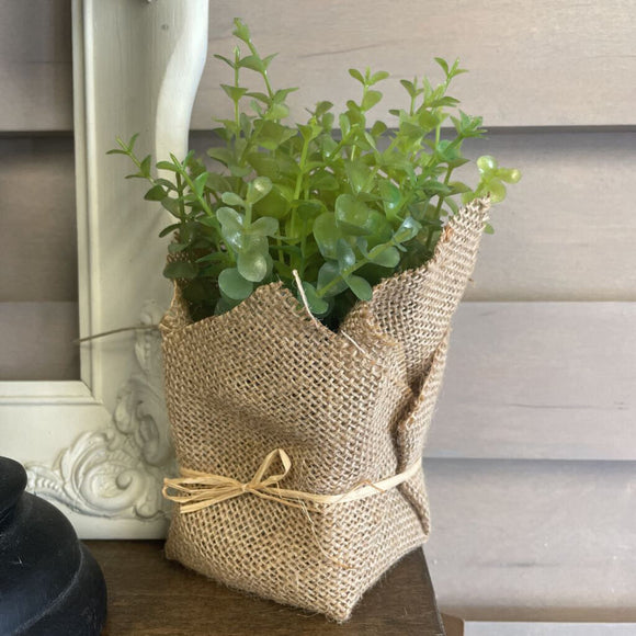 Burlap Wrapped Artificial Potted Herb,