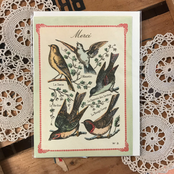 Merci Birds Greeting Card