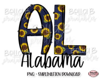 Sunflower Alabama State Sublimation Design