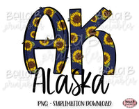 Sunflower Alaska State Sublimation Design