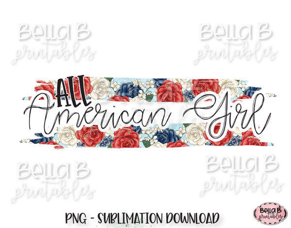 All American Girl Sublimation Design