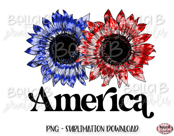 Tie Dye Sunflowers America Sublimation Design