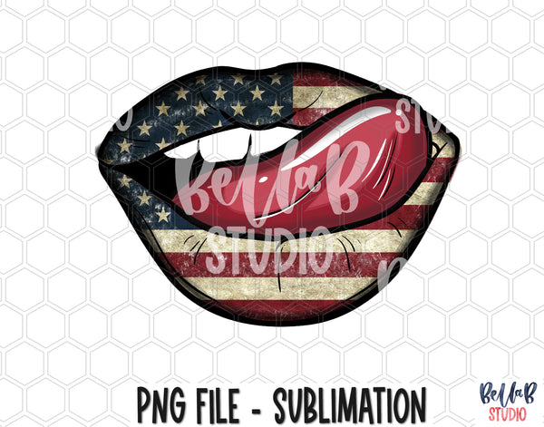 American Lips Sublimation Design