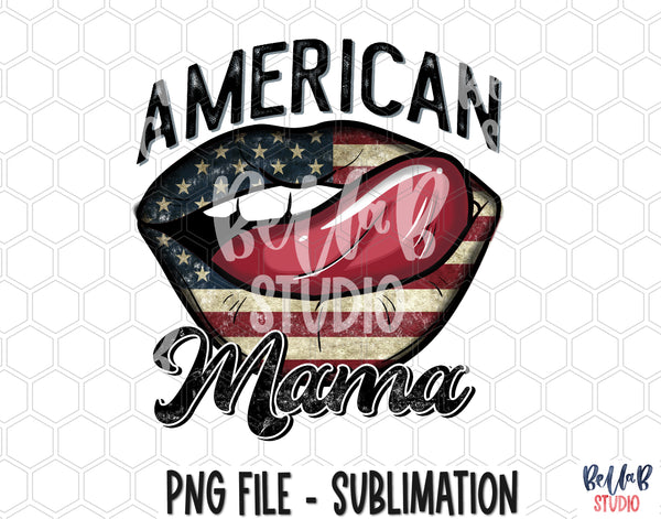 American Mama Lips Sublimation Design