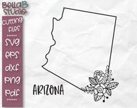 Floral Arizona Map SVG File