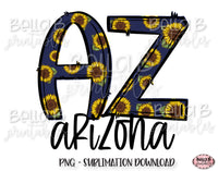 Sunflower Arizona State Sublimation Design
