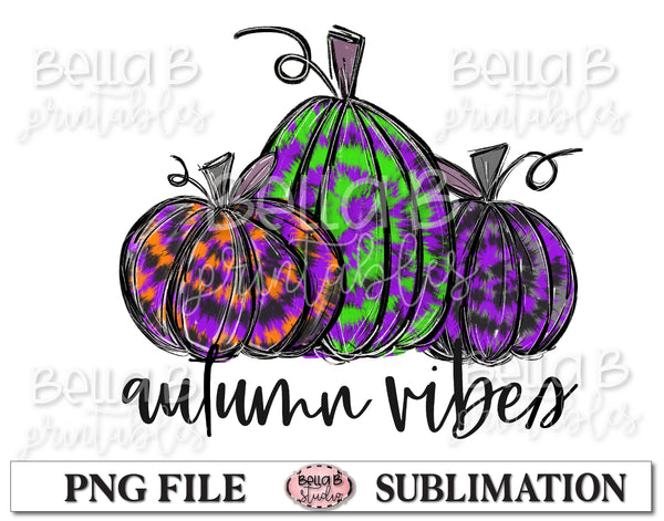 Autumn Vibes Sublimation Design, Halloween Pumpkins, Hand Drawn