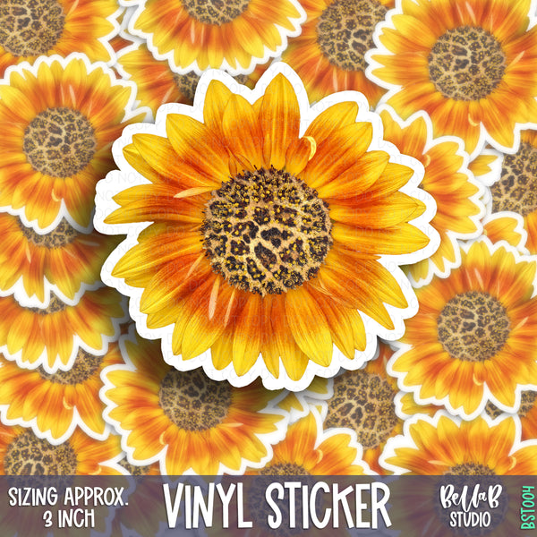 Leopard Sunflower Vinyl Sticker - Glossy Permanent Weatherproof
