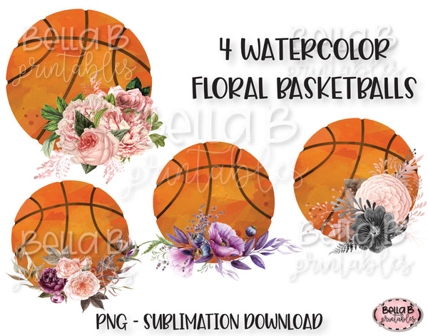 Floral Basketball Sublimation Elements Bundle