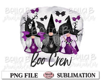 Halloween Gnomes Sublimation Design, Boo Crew