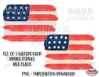 American Flag Sublimation Design, Watercolor Brushstrokes