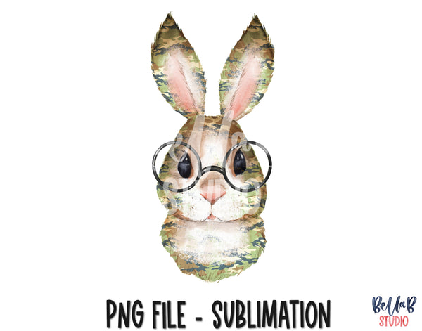 Camo Easter Bunny With Glasses Sublimation Design