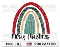 Merry Christmas Rainbow Sublimation Design