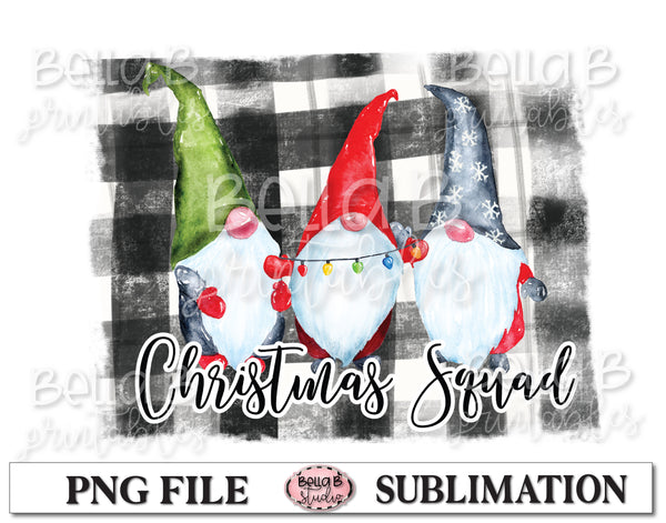 Plaid Christmas Squad Gnomes Sublimation Design