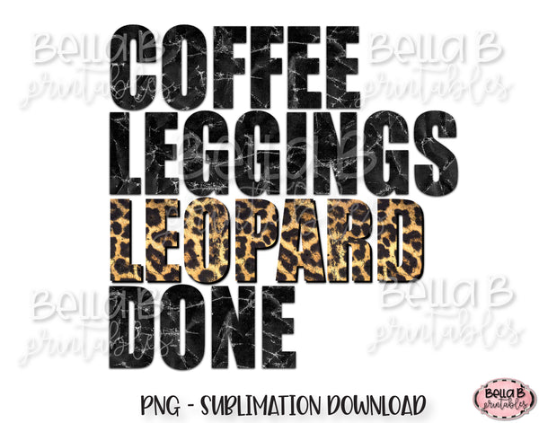 Coffee Leggings Leopard Done Sublimation Design
