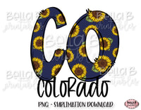 Sunflower Colorado State Sublimation Design