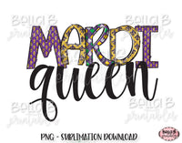 Mardi Gras Sublimation Design, Mardi Queen, Doodle Letters