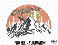 Explore - Vintage Mountains Sublimation Design