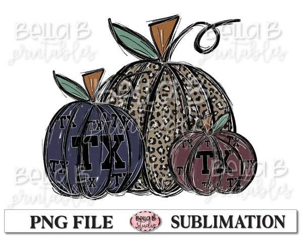 Texas Fall Pumpkins Sublimation Design