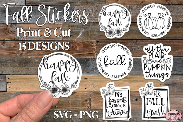 Fall Stickers, Clip Art, Print and Cut