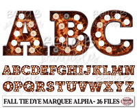 Fall Tie Dye Marquee Alphabet Letters, Marquee Alphabet Set