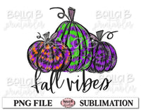 Fall Vibes Sublimation Design, Halloween Pumpkins, Hand Drawn