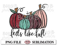 Feels Like Fall Sublimation Design, Fall Pumpkins, Hand Drawn