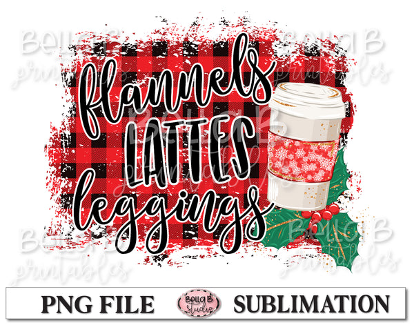 Flannels Lattes Leggings Sublimation Design