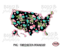 Floral United States Map Sublimation Design, Doodle