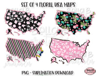 Floral United States Map Sublimation Design Bundle, Doodle