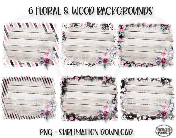 Floral and Wood Sublimation Background Bundle, Backsplash