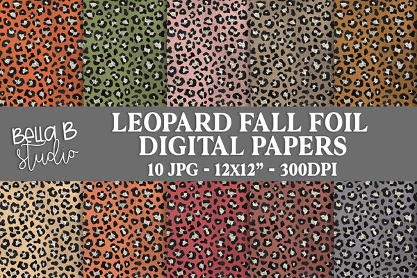 Leopard Print Fall Metallic Foil Digital Papers