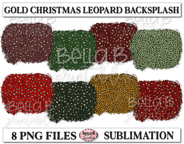 Gold Leopard Christmas Sublimation Background Bundle, Backsplash