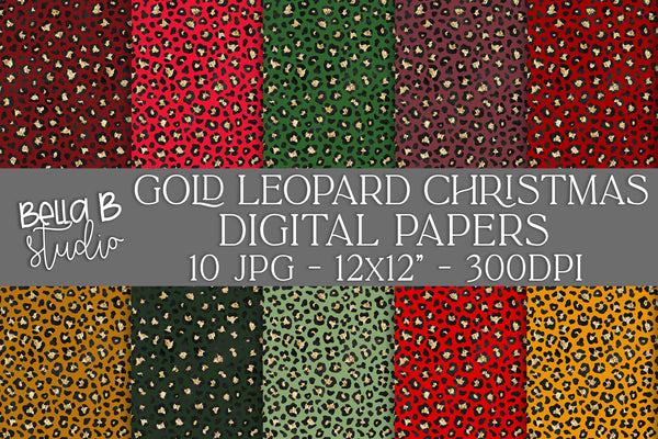 Gold Leopard Print Christmas Digital Papers