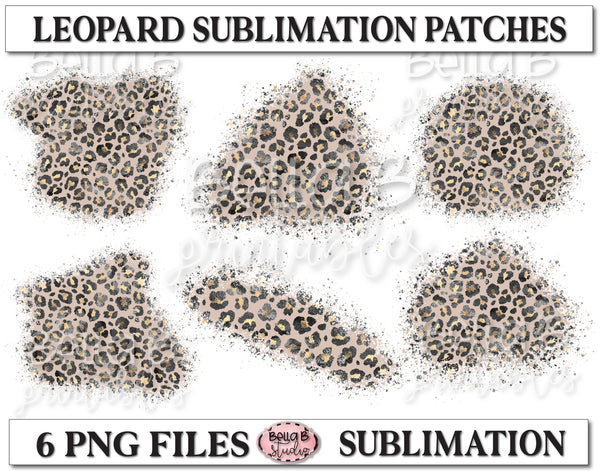Glitter Leopard Sublimation Patches - T Shirt Bleaching Patches
